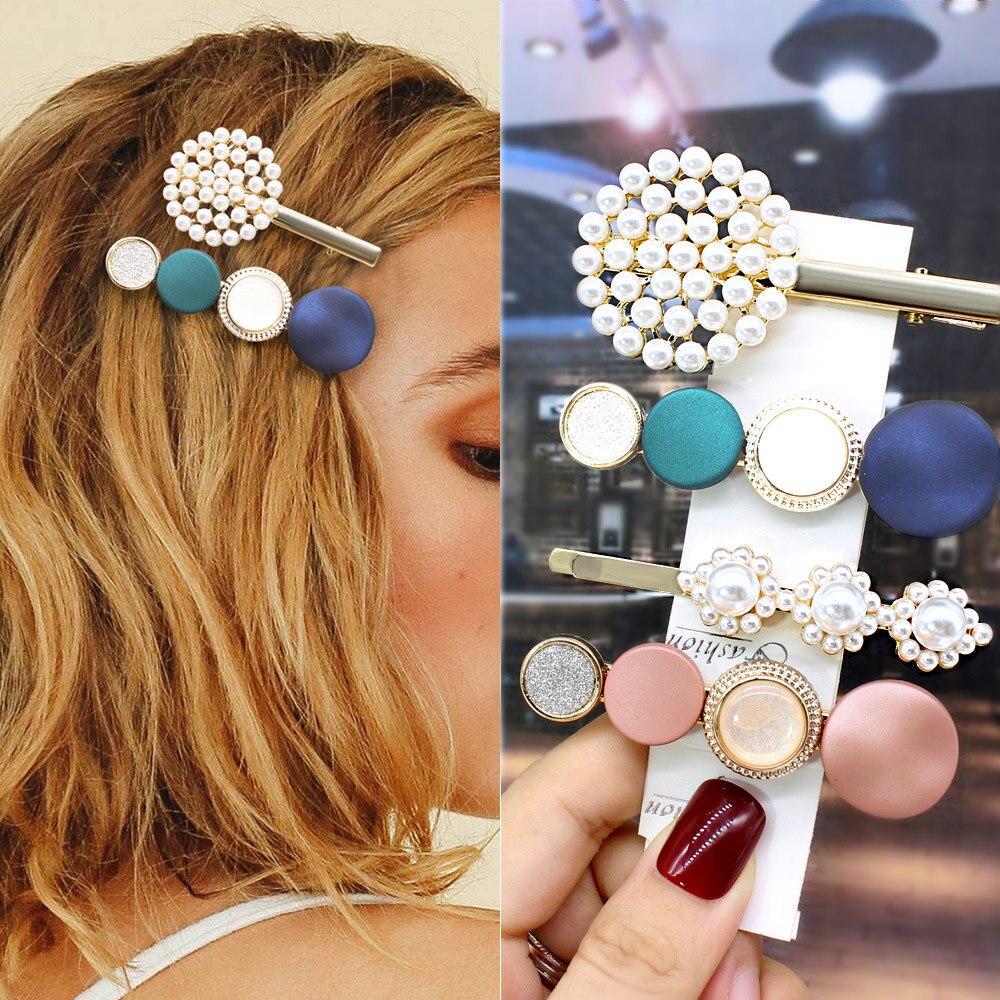 Fashion Korean Style Pearl Hair Clips Women Girls Alloy BB Hairgrip Barrettes