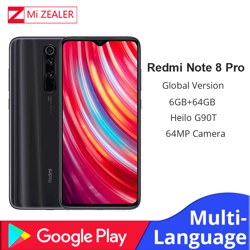 New Global Version Xiaomi Redmi Note 8 Pro 6GB RAM 64GB ROM 4500mah Smartphone 64MP Camera MTK Helio G90T Cellphone