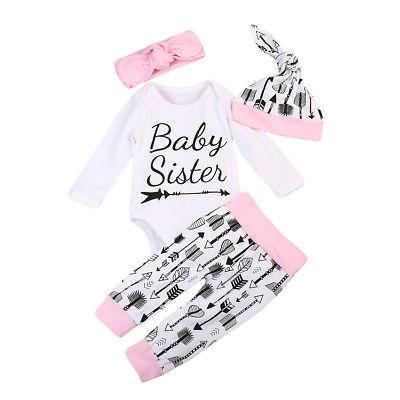 Baby Clothing  4PCS Newborn Infant Girls Romper Tops+ Arrow Pants Legging+Hat Outfits Set Clothes