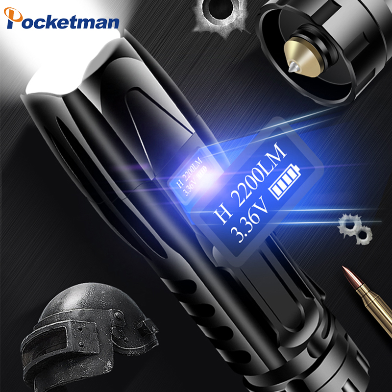 OLED Display XHP90 Powerful USB LED Flashlight XHP70 XHP50 Torch Hand Lamp 26650 Rechargeable Tactical Flashlight For Hunting