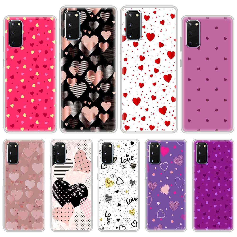 Fashion Phone Case For Samsung Galaxy S20 FE S21 S9 S10 Plus Note 20 Ultra 10 Lite 9 Soft Mobile Cover Cute Love Heart