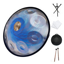 AS TEMAN HANDPAN BLACK HOLE 10 NOTES D MINOR SCALE PROFESSIONAL MUSICAL INSTRUMENT BLUE HANDPAN DRUM WITH GIFT SET
