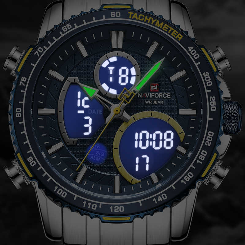 Naviforce 男性腕時計トップの高級ブランドビッグダイヤルスポーツ腕時計メンズクロノグラフクォーツ腕時計日付男性時計レロジオ masculino
