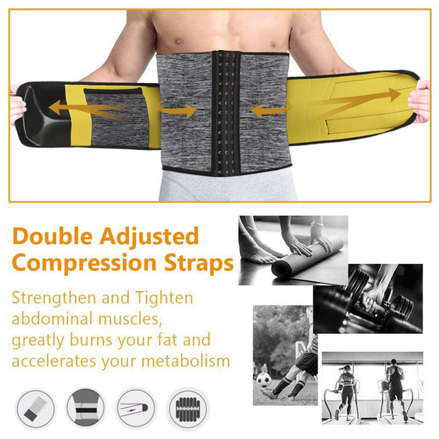 Sexywg Men Waist Trainer Support Neoprene Sauna Suit Modeling Body Shaper Belt Weight Loss Cincher Slim