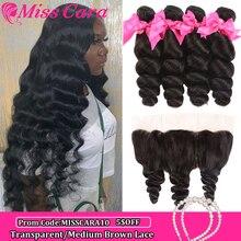 Peruvian Loose Wave Bundles With Frontal 100% Human Hair 3/4 Bundles With Frontal Miss Cara Remy Hair Frontal With Bundles