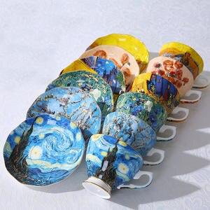 Tea-Cups Coffee-Mugs Sower Van Gogh Art-Painting Starry Night-Sunflowers Irises New The