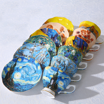 The New Van Gogh Art Painting Coffee Mugs The Starry Night Sunflowers The Sower Irises Saint-Remy Coffee Tea Cups 50mm van gogh art paintings refrigerator stickers starry night sunflowers fridge magnet landscape glass crystal cabochon decor