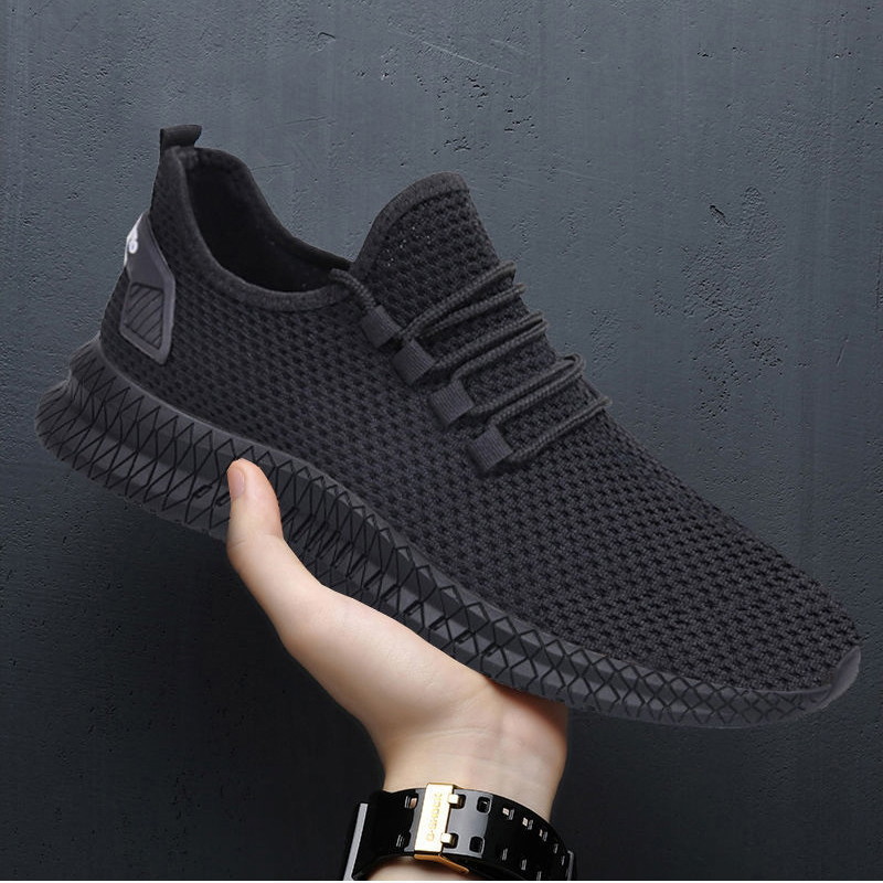 H65819b8a125d4a1b83cc3fc4e49bd099I - Men Sneakers Black Mesh Breathable Running Sport Shoes Male Lace Up Non-slip Men Low Athletic Sneakers Casual Men Shoes
