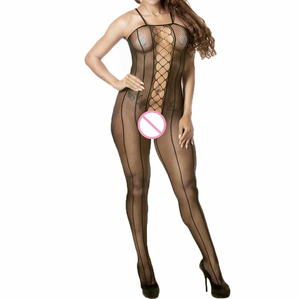 Vrouwen Sexy Lingerie Visnet Bloemen Crotchless Bodystocking Sexy Teddy Corset Halter Babydoll Bodysuits Nachtkleding Erotische Kostuums