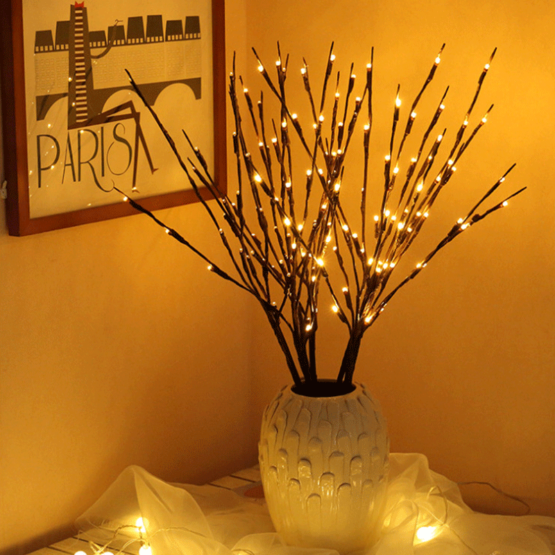 LED String Lights Fairy Wedding Party Holiday Decoration Simulation Tree Branch Lamp Battery-powered Nordic Style Lamp String