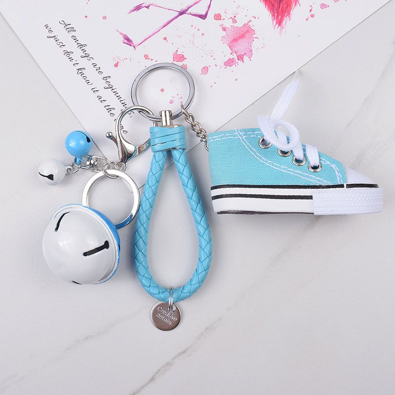 Cute Mini Simulation Canvas Shoes Bell Keyring Keychain For Women Girl Souvenir Gift Women Bag Key Holder Accessories Jewellery  - buy with discount