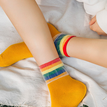 New Fashion Women Cotton Socks Autumn Sweet Net Frill Striped Rainbow Sock Lady Black Socks vertical striped frill embroidered tape detail dress