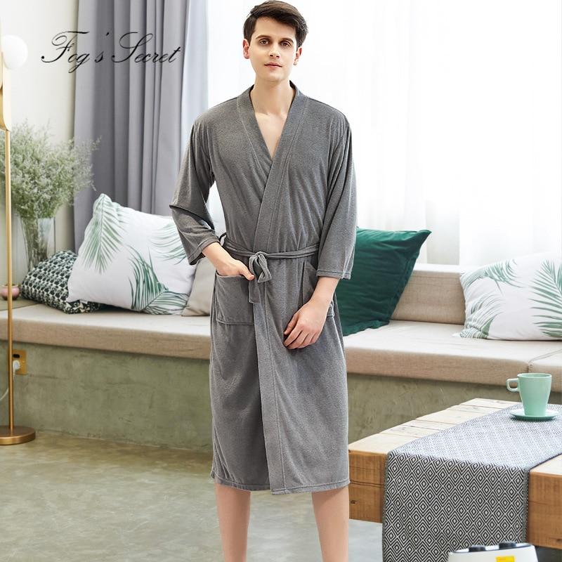 Men Bathrobe Couple Thin Yukata Quick-drying Pajamas Homewear Nightgown Gray Red Brown Roupao Feminino