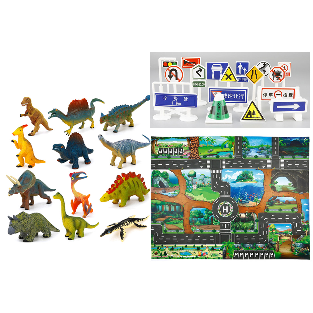 Car Traffic Playing Mat Game Play Carpet Roadway Activity Rug With Traffic Markers And Pack Of 12 Dinosaurs Educational Toy Gift