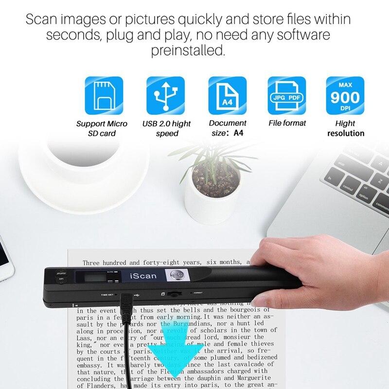 Leitor de documentos e imagens de tamanho a4 sem fio portátil a quente resolução 900 dpiformato pdf jpgdisplay lcd (formato jpgpdf