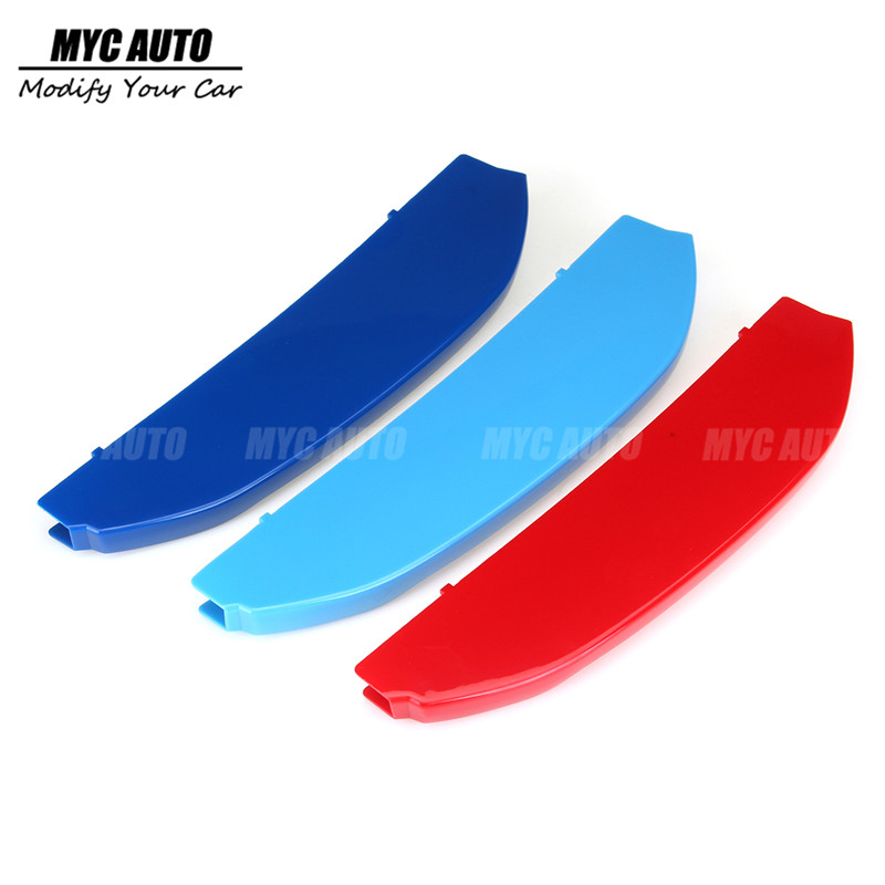 Tir-Color <font><b>Grille</b></font> Trim For <font><b>BMW</b></font> <font><b>X3</b></font> <font><b>G01</b></font> X4 G02 2018 2019+ 3Pcs Tri-Color Front <font><b>Grille</b></font> Trim Strip Cover Bumper Strips Cover Stickers image