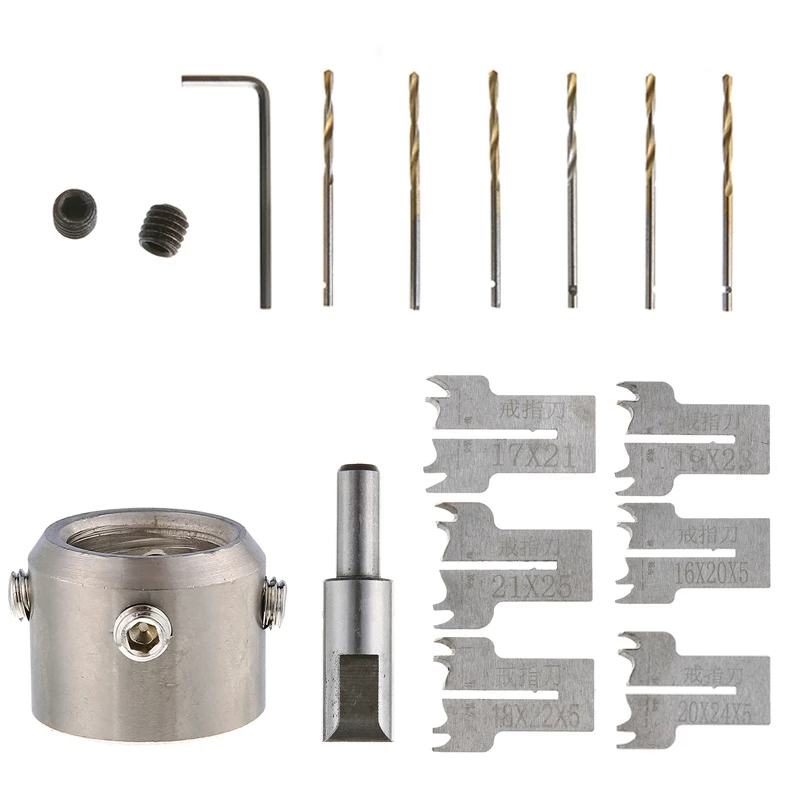 New Durable 14Pcs Multifunction Bracelet Ring Drill Beads Drill Bit Wood Milling Router Set Woodworking Machinery Parts