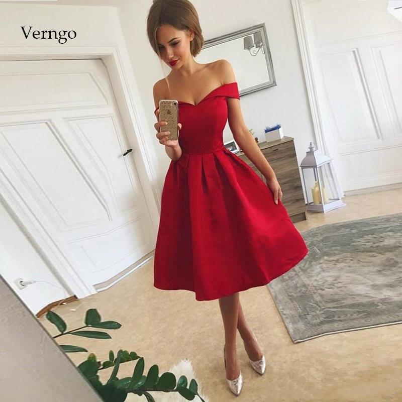 Verngo Red Satin Prom Dresses Simple Party Gown Prom Dress Short Evening Party Dress Vestidos De Gala