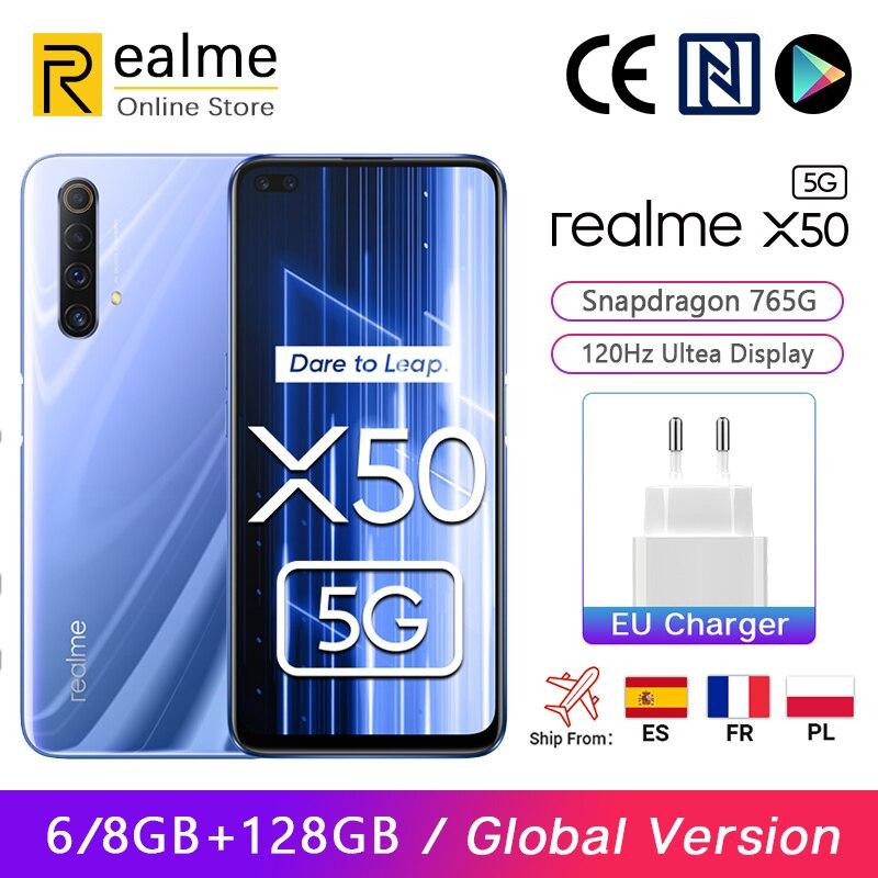 Versão global Realme X50 X 50 5G Smartphone 8GB 128GB Snapdragon 765G 6,57  120Hz Ultra Display 48MP Quad Rear Cams 30W Charge