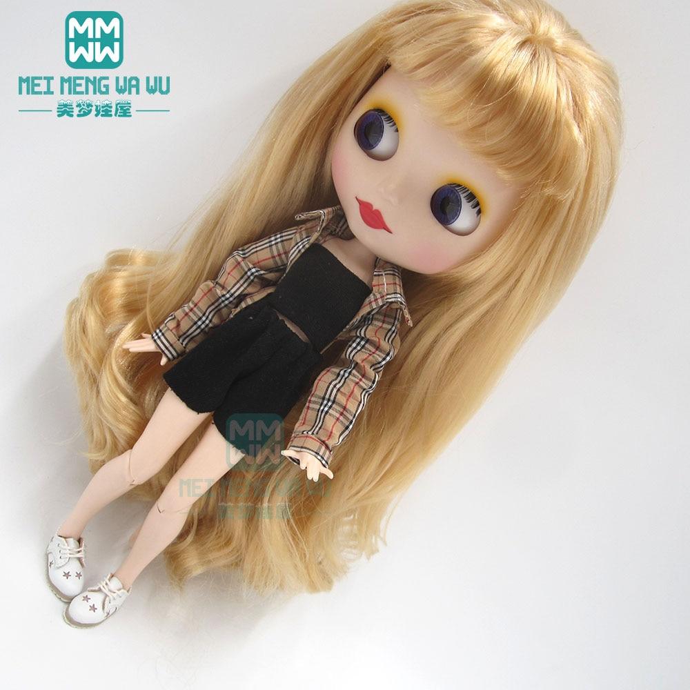 Одежда для куклы Blyth, модная клетчатая рубашка, топ, шорты, обувь для OB23 OB24 Azone Doll accessories