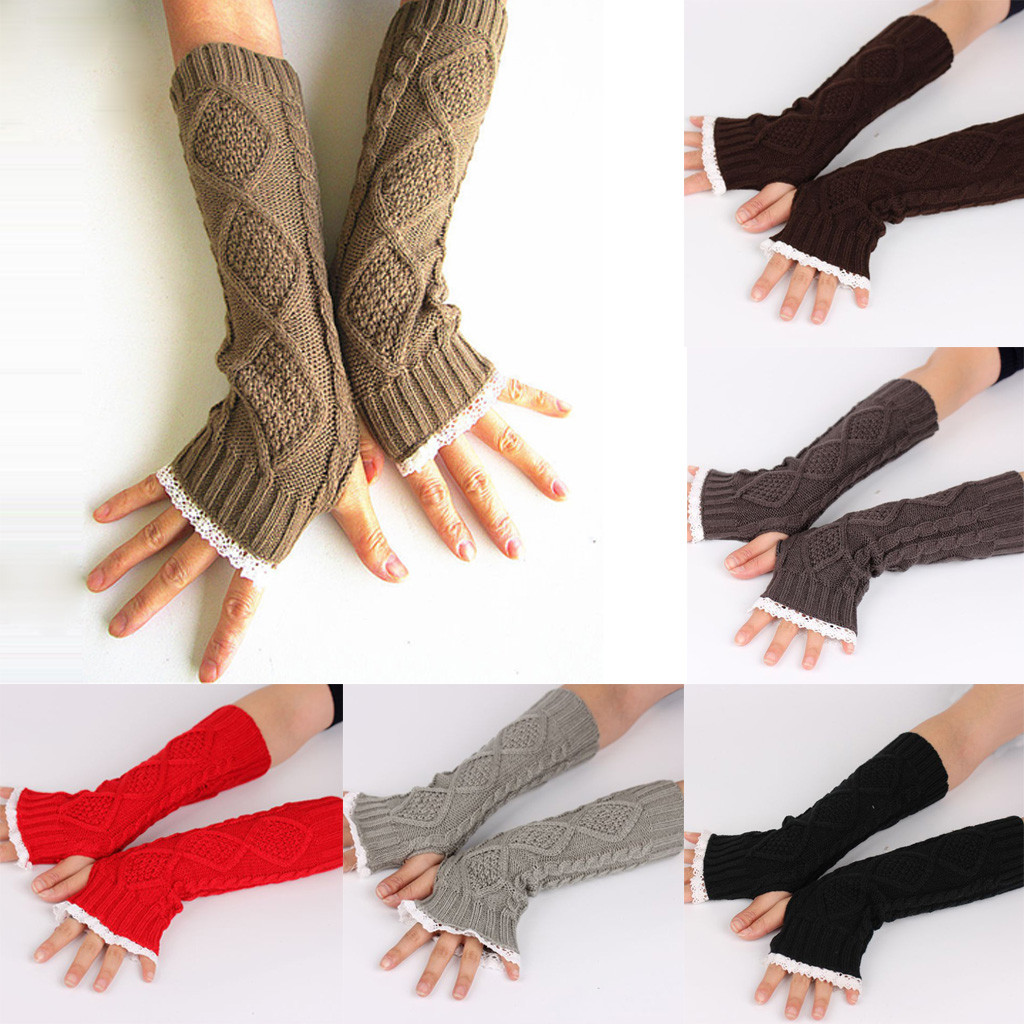 Women's Winter Gloves Knit Long Buttons Openwork Leaf Lace Warm Bracers Fingerless Gloves 10.10