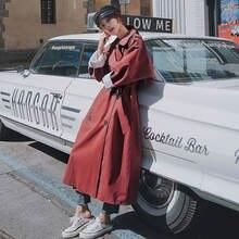 Новинка 2020 женское осеннее длинное хрупкое пальто Тренч винтажное