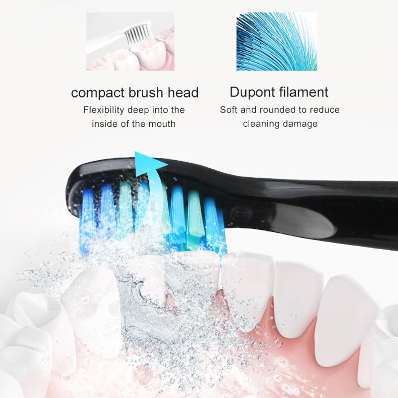 SEAGO Electric Toothbrush Rechargeable buy one get one free Sonic Toothbrush 4 Mode Travel Toothbrush with 3 Brush Head Gift 3