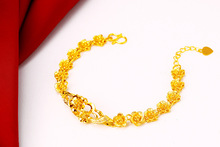 Gold-plated New Golden Wedding Flower Retro Bracelet Sand Gold Creative Bride Bracelet Chinese Style Beauty Bracelet