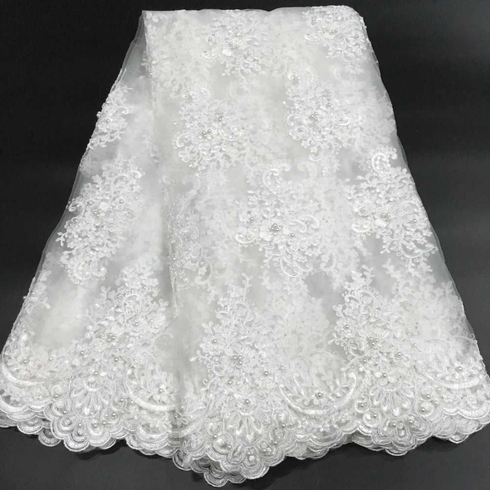 Preto branco africano tecido de renda 2019 alta qualidade laço francês malha tecido frisado nigeriano suíço rendas tecidos para vestido K-W006A