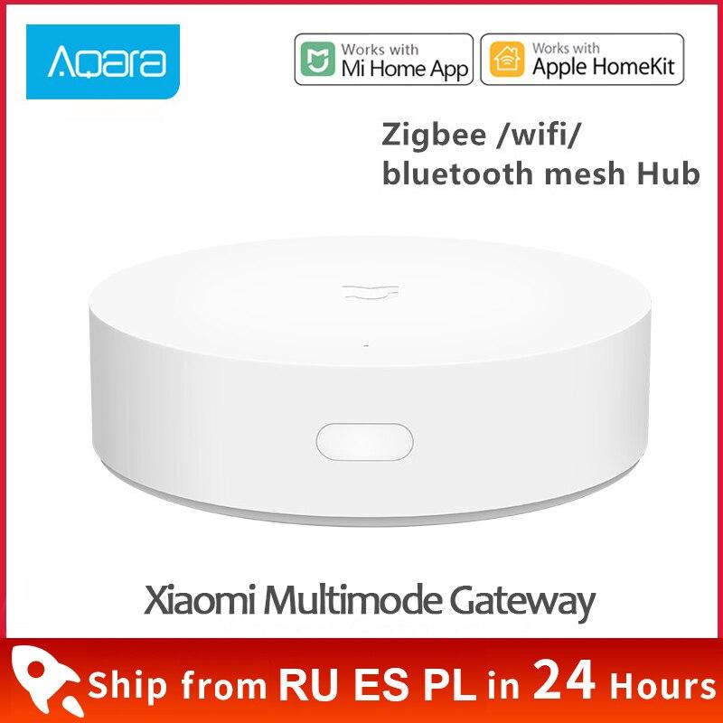 Xiaomi умный Многофункциональный шлюз 3 Bluetooth Zigbee WiFi дистанционное управление RGB радио устройство безопасности для дома Поддержка Apple Homekit
