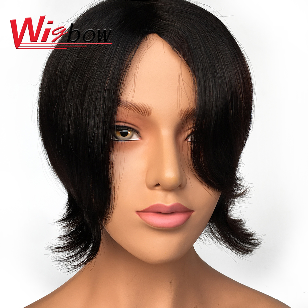 Short Bob Wigs Brazilian Remy Hair Straight Pre-Plucked Wigs Natural Color 100% Human Hair For Women Wigbow Free Shipping