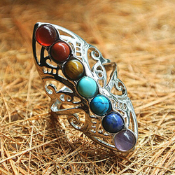 Anel de pedras de chakra vintage, anel de yoga banhado a prata oco, ajustável, anel reiki, equilíbrio, joia de cura