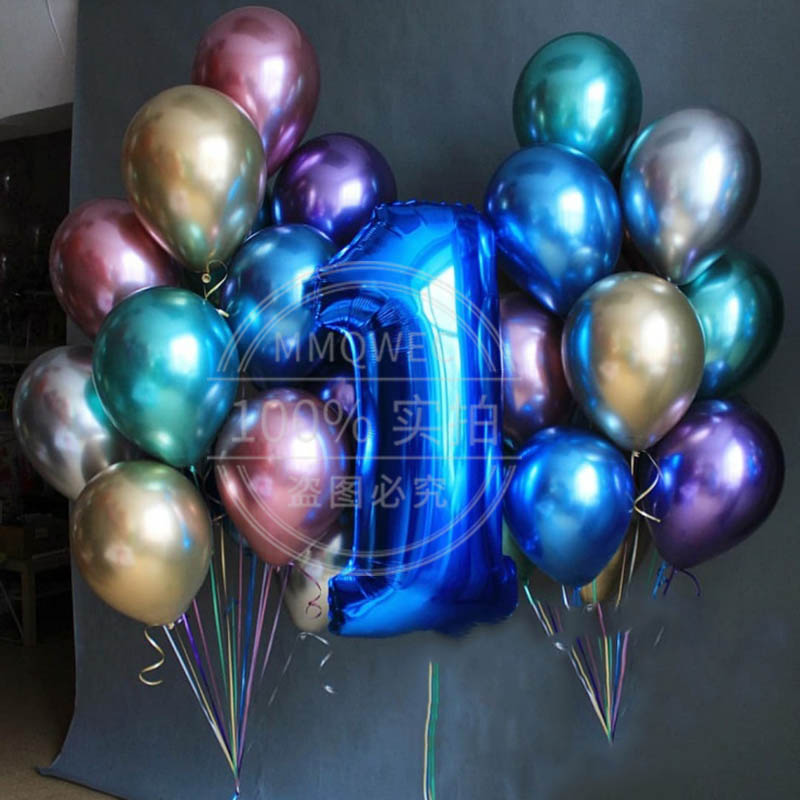 Baby 1st Birthday Classic Metal Latex Balloon 40inch Number Foil Helium Balloon Kids First Birthday Party Baby Shower Decor