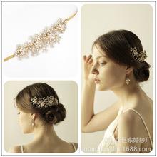 Naturalne perły ręcznie ślubne kryształowe nakrycie głowy ślubne akcesoria do włosów ślubne nakrycie głowy panna młoda Halo pałąk biżuteria do włosów tanie tanio le liin Ze stopu cynku Kobiety PLANT Klasyczny Włosów grzebienie
