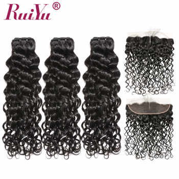 Peruvian Water Wave Bundles With Frontal Closure Remy Human Hair Bundles With Closure 3 Bundles with Frontal Closure RUIYU - DISCOUNT ITEM  57% OFF All Category