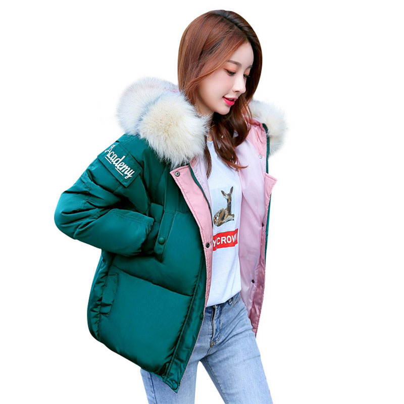 Short Hooded Fur Collar Winter   Down     Coat   Jacket Thick Warm Women Wadded Parkas Outwear Cotton Padded Jacket Big Pocket