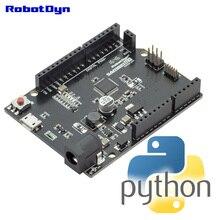 MicroPython SAMD21 M0 bord. 32 bit ARM Cortex M0 core. Ardulno form R3. Python bord.