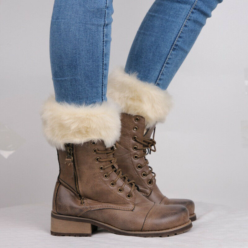Hot Sale Keep Warm Womens Winter Knitted Boot Cuffs Fur Knit Toppers Boot Socks Legs Warmers New
