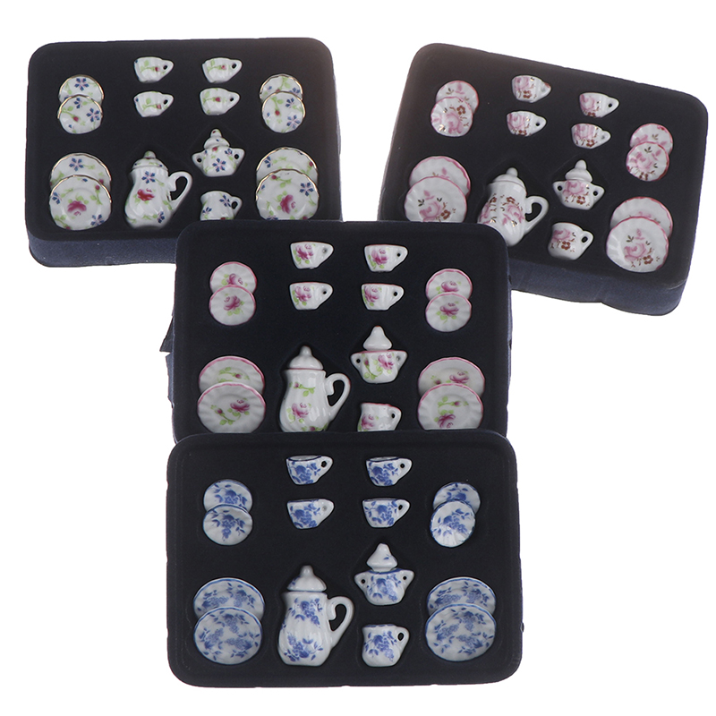 1:12 Miniature 15pcs Porcelain Tea Cup Set Flower Tableware Kitchen Dollhouse (8 Patterns For Your Choice)