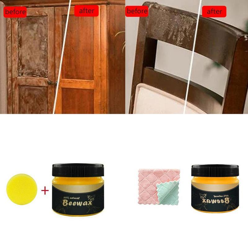 Cera de abejas pura Natural 80g, pulidor de muebles de madera, cera de miel de abeja con alfombra y esponja, protección de mantenimiento cosmético Envoltura de almacenamiento reutilizable de cero residuos, papel de envolver alimentos orgánico y sándwich y queso, envoltorio de cera de abejas sin BPA y plástico