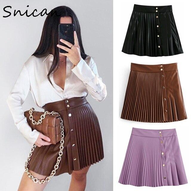 snican solid pu leather skirt high waist buttons sexy mini pleated skirt Asymmetrical fashion faldas cortas za 2020 women autumn 1
