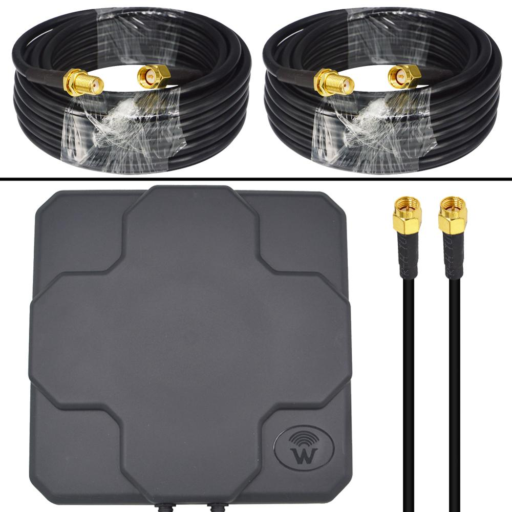 4G Antenna Outdoor Panel 18dbi 698-2690MHz 4G LTE Aerial MIMO External Antenne + 2 Pieces SMA Male To SMA Female RG58 Cable