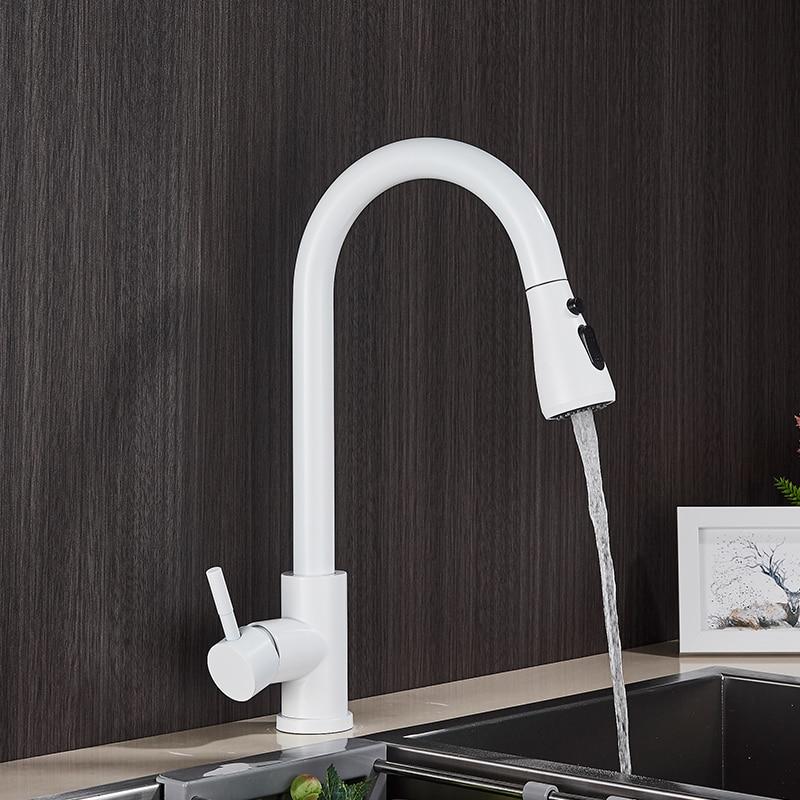 H6583d75ee4de49e7a02b4cb8e2f6d9cdN Rozin Brushed Nickel Kitchen Faucet Single Hole Pull Out Spout Kitchen Sink Mixer Tap Stream Sprayer Head Chrome/Black Mixer Tap
