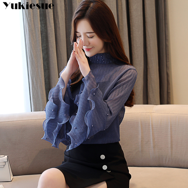 woman blouses 2021 summer flare sleeve beading women's shirt blouse for women blusas womens tops and blouses chiffon shirts 5