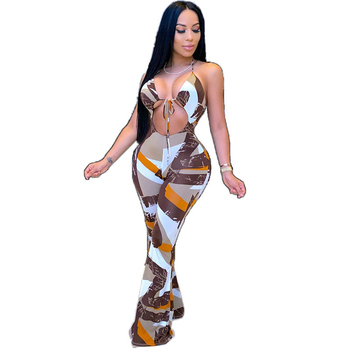 New Style Jumpsuit European and American Women's Tight Rompers Sexy Sling Halter Printed Wide Leg Jumpsuit cut out neck wide leg halter jumpsuit