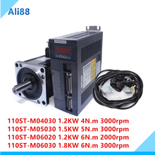 110ST AC Servo Motor set:6N.m 1.8KW 3000rpm 110ST M06030+Matched Servo Driver+cable complete motor kits Modbus RS485 for CNC