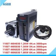 Juego de servomotor de CA 110ST: 6N.m 1,8kw 3000rpm 110ST M06030 + servocontrolador combinado + cable kits de Motor completos Modbus RS485 para CNC