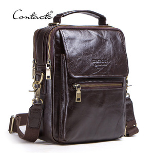 """Image 4 - CONTACTS new genuine leather messenger bag for men casual shoulder bags male flap bag luxury brand crossbody bags for 9.7"""" Ipad"""