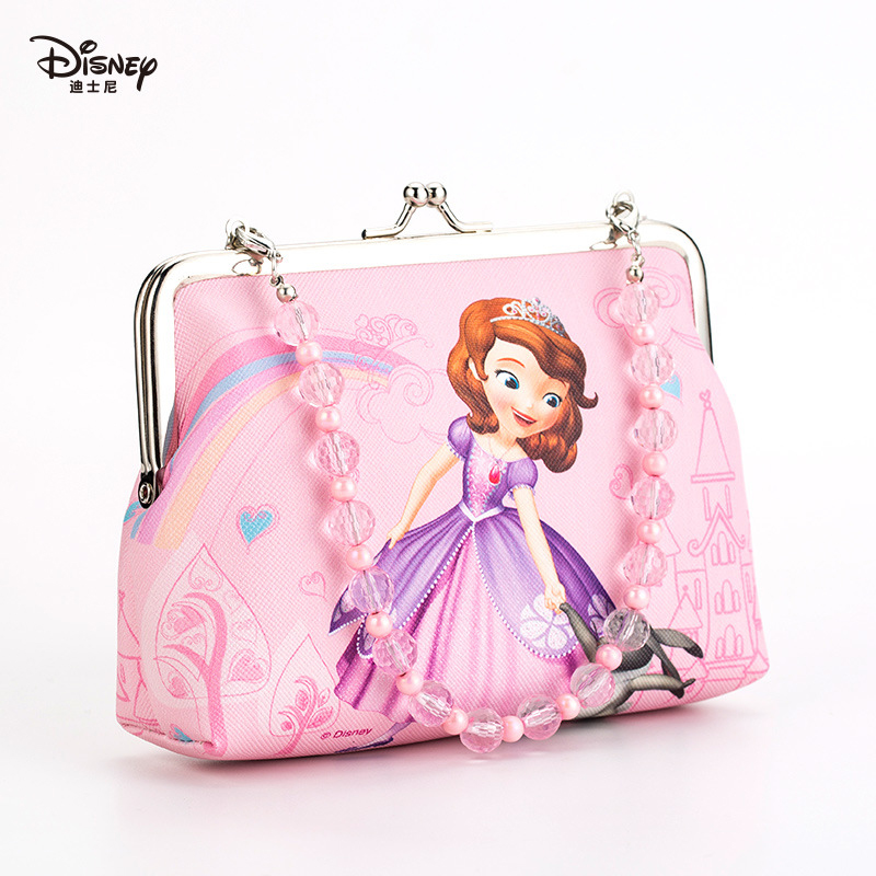 Disney Authentic New Children's Bag Handbag Diagonal Package Little Girl Fashion Bead Chain Princess Sophia Cute Cartoon
