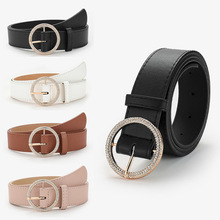 Fashion Leather Belt New Alloy Pin Buckle Belts For Women All-Match Rhinestone Inlaid Designer Belts For Jeans Dress Waistband